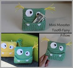 Newest Totally Free Crochet pillow for boys Concepts Mini Monster Tooth Fairy Pillow Crochet Pattern … Instant Crochet Gifts, Cute Crochet, Crochet Toys, Crochet Fairy, Crochet Pillow Cases, Crochet Phone Cases, Crochet Mobile, Crochet Monsters, Mini Monster