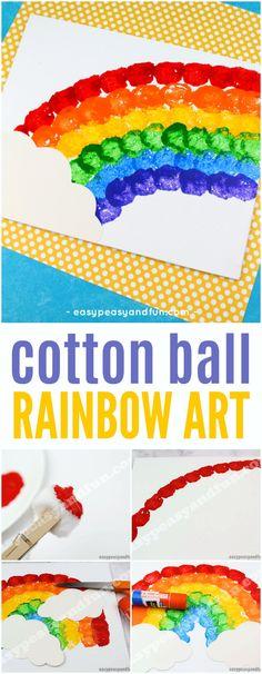 Cotton Ball Rainbow Art Idea for Kids #Springcrafts #rainbowcraft #artforkids