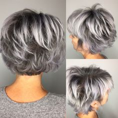 52 Ideas for hair color gray highlights pixie cuts Short Grey Hair color Cuts Gray Hair Highlights Ideas Pixie Pixie Cut With Highlights, Gray Hair Highlights, Lowlights For Gray Hair, Short Grey Hair, Short Hair With Layers, Grey Hair Bob, Short Hair Over 50, Short Silver Hair, Grey Hair Over 50