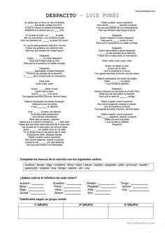Despacito - Luis Fonsi trabajos - Hojas de trabajo de ELE gratuitas