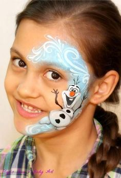 """Learn how to face paint Olaf the Snowman ☃️ from the """"Frozen"""" movie. Face painting cheek art design suitable for both boys and girls. Fast, easy and effective makeup for kids! Face painting for Christmas. ❄️ ✅ Want to be a CONFIDENT Face Painter? Visit my Face Painting Blog and boost your face painting career! https://facebodyart.com/BLOG/ #howtofacepaint"""