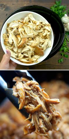 Crock pot honey garlic chicken is a simple meal that you can toss in the slow cooker for any night of the week. Serve this shredded honey garlic chicken breast over rice with a side Slow Cooker Recipes, Crockpot Recipes, Chicken Recipes, Cooking Recipes, Healthy Recipes, Chicken In The Crockpot, Chicken Over Rice, Dinner Crockpot, Cooking Pork