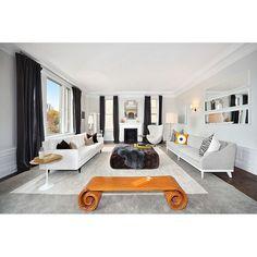 Dark drapes anchor the light breezy living room. #rumahkulivingroom