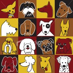 Editable vector illustrations of dogs. Each dog is grouped as a. Cartoon Dog Pictures, Pictures To Draw, Cartoon Dog Drawing, Crazy Dog Lady, Dog Crafts, Pet Rocks, Animal Paintings, Dog Art, Doodle Art