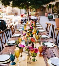 "Inspired By This on Instagram: ""This bright & lively fiesta inspired wedding #onIBTtoday packs a punch with bright florals and gorgeous decor.(Link in Profile, Photo by @camijane, Design by @crosbyandjon, Florals by @kristajon, Rentals by @archiverentals, linens by @latavolalinen)"""