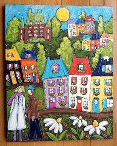 Promenade dans le Quartier petit Champlain dans le vieux Québec par Isabelle Malo •Acrylique sur toile • Acrylic on canvas • Folk art  • www.isamalo.com • Artiste peintre du Québec •Art naïf