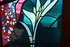 Smoketree Ranch. Detail of stained glass by James Hubbell.