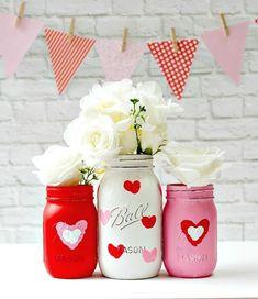 Make Your Own Valentine Kid Craft Thumbprint Heart Jars - 130 Easy Craft Ideas Using Mason Jars for Spring & Summer - DIY & Crafts