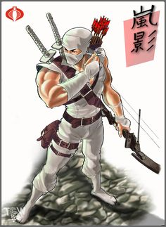 A white ninja knows as storm shadows is ready for an all-out war. Carrying his swords, bow and arrows and ninja stars Comic Book Heroes, Comic Books Art, Comic Art, Arte Ninja, Ninja Art, Samurai Art, Samurai Warrior, Ninja Warrior, Guerrero Ninja