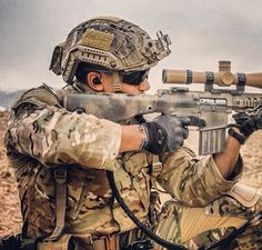 U.S. Army Ranger sniper at the range in Afghanistan.