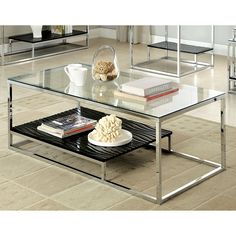 Sleek designs never looked better and are sure the glisten in any setting. This beautiful coffee table features a shining chrome frame to hold up the tempered glass top, while a wood panel display shelf adds texture and color.