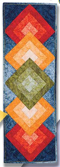 """Diamonds in the Sky Tablerunner Pattern by Karen Combs at KayeWood.com. 17"""" x…"""