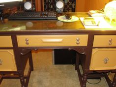 An old vanity all fixed up - good as new and now my desk!