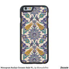 Monogram Azulejo Ceramic Style Vintage Ornament Carved® Maple iPhone 6 Case