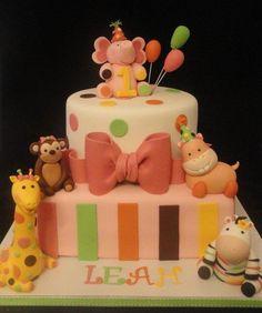 Sweet Safari 1st Birthday Cake  - Cake by Katie Cortes