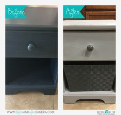 Next Chalk paint project. FYI don't buy cheap particle board furniture it's so much harder to paint. But overall it turned out ok for my second time. Found two for 38.00 which I think was too much. Used the same aged grey from Rust-oleum and clear wax. Knob on sale at Hobby Lobby for 1.50 and basket was 9.99 at home goods.  Overall project was around 43.00 each night stand. Putting in my closet to put my bras and undies in them so I don't wake the hubby.