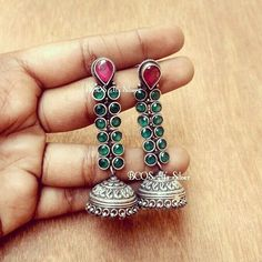 This beautiful pure silver earrings with imitation rubies and imitation emeralds.. love the detailing in the jhumka base... 3450rs free shipping within India.. please write to artee.manifattura@gmail.com #jhumkas #jhumkalove❤ #jhumki #jhumkies #jhumka #jhumki #jhumkalove #bcositssilver #emeraldlove #rubyjewel #longearring #love #kodi #bogantamilmovie #hansikamotwani #nayantharaa #imaikkaanodigal #magalirmattum #thaanaaserndhakoottam