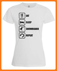 Eat Sleep Snowboard Repeat Funny Black Graphic Womens T-Shirt XX-Large