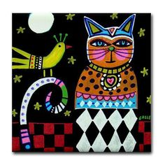 50% off - Cat art Tile Ceramic Coaster Print of painting by Heather Galler