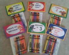 12 Sets of Personalized Paw Patrol Birthday Party Favor Bags with mini coloring pages and crayons by OhMyPartyFavors on Etsy https://www.etsy.com/listing/476432587/12-sets-of-personalized-paw-patrol