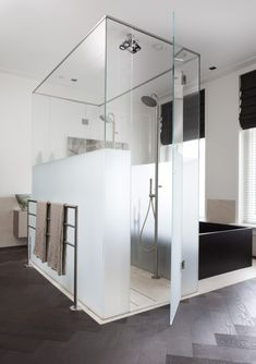 Glass box for shower and toilet