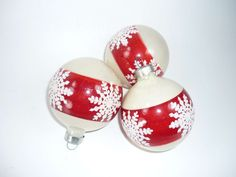 Set of 3 Vintage Christmas Tree Snowflake Ornaments Red and White by ChromaticWit,