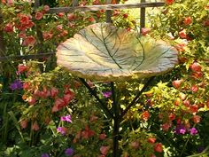 garden bird baths | Rhubarb bird bath | Garden