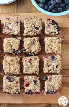 Whole Wheat Strawberry Blueberry Crumb Bars Recipe from A Kitchen Addiction