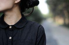 black peter pan  long sleeve shirt cotton blouse casual von Aolo, $54.00