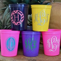 50 Monogrammed Bright Plastic Stadium Party Cups on Etsy, $57.95