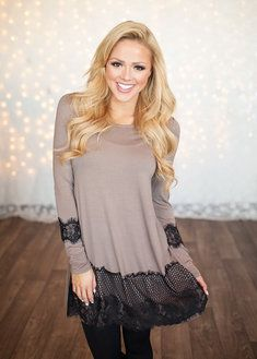 Just a Trim Of Lace Tunic Mocha/Black