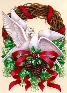 Two Doves -- by Stephanie Stouffer Christmas Graphics, Christmas Clipart, Christmas Images, Christmas Art, Winter Christmas, Vintage Christmas, Christmas Wreaths, Christmas Decorations, Calligraphy Flowers