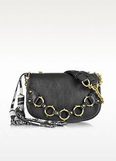 Fringe Small Black Leather Shoulder Bag - Roberto Cavalli 817b052381332