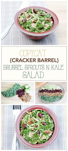 Cracker Barrel Recipes | Cracker Barrel Copycat Brussel Sprouts n Kale Salad Recipe | Vegan Healthy Salad | Gluten free | Pecans Craisins Salad | Maple Vinaigrette Recipe | Healthy Meal Ideas | Healthy Recipes | Spring Summer Salads | Copycat Recipes | Six Clever Sisters