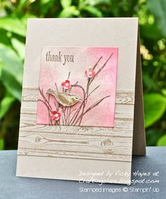 Stampin' Up ideas and supplies from Vicky at Crafting Clare's Paper Moments: The bird in the Strawberry Slush