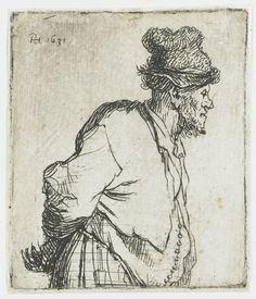 Staande boer met de handen op de rug,Rembrandt van Rijn, 1631