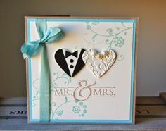 Mr  & Mrs, heart punch bride & groom , flowering flourishes Wedding card