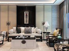 现代新中式沙发椅子茶几组合 查看原图: