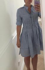 Striped Linen Blend Shirt Dress Reviews - Blue M