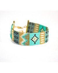 Bracelet manchette tissage miyuki turquoise, noir, doré et blanc -Bijoux ENORA-