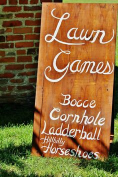 Lawn Games Sign - Rustic Outdoor Wedding - fun idea for while you guys are off taking pictures