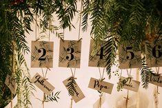 Greenery Table Escort Cards | Stylish Outdoor Wedding at Masia Casa del Mar in Barcelona, Spain | Sara Lobla Photography | Made in Video Film