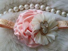 Peach Headband/Flower Girl Headband/Baby Headband/Infant Headband/Newborn Headband/Toddler Headband/Girls Headband/Girls Headband by OohLaLaDivasandDudes on Etsy