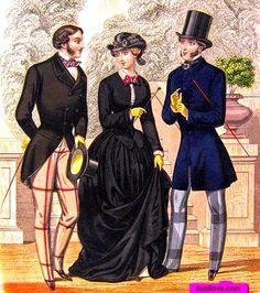 1853  Two men and one Lady in Riding Habits. Plate via Gentleman's Magazine via Google Books (PD-150) suzilove.com