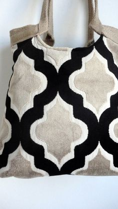 Quatrefoil tapestry tote bag with burlap in black,white and off-white. $78.00, via Etsy.