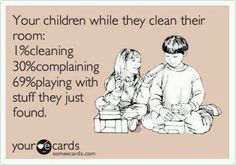 Children cleaning their room