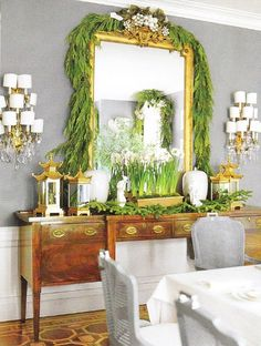 gold pagoda lanterns on sideboard from Mary McDonald via Chinoiserie Chic: The Christmas Chinoiserie Dining Room A Christmas Story, All Things Christmas, Christmas Holidays, Christmas Decorations, Holiday Decorating, Christmas Balls, Decorating Ideas, Christmas Ideas, Decor Ideas