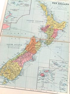 New Zealand Map 1930's Map old map by PeonyandThistlePaper on Etsy