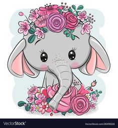 Cartoon Elephant with flowers on a white background. Cute Cartoon Elephant with flowers on a white background royalty free illustration Cartoon Cartoon, Cartoon Kunst, Cute Cartoon Animals, Cute Baby Animals, Cute Cartoon Girl, Wild Animals, Cute Cartoon Pictures, Cute Images, Cute Pictures