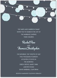Casual Wedding Invitations, Blue Lanterns Charcoal, 23152. Myexpression.com
